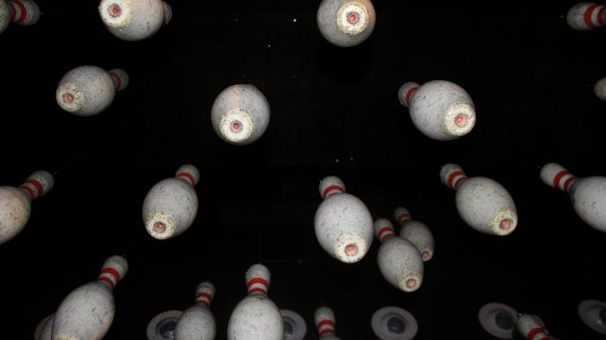 All Star Lanes Bowling Pin art installation