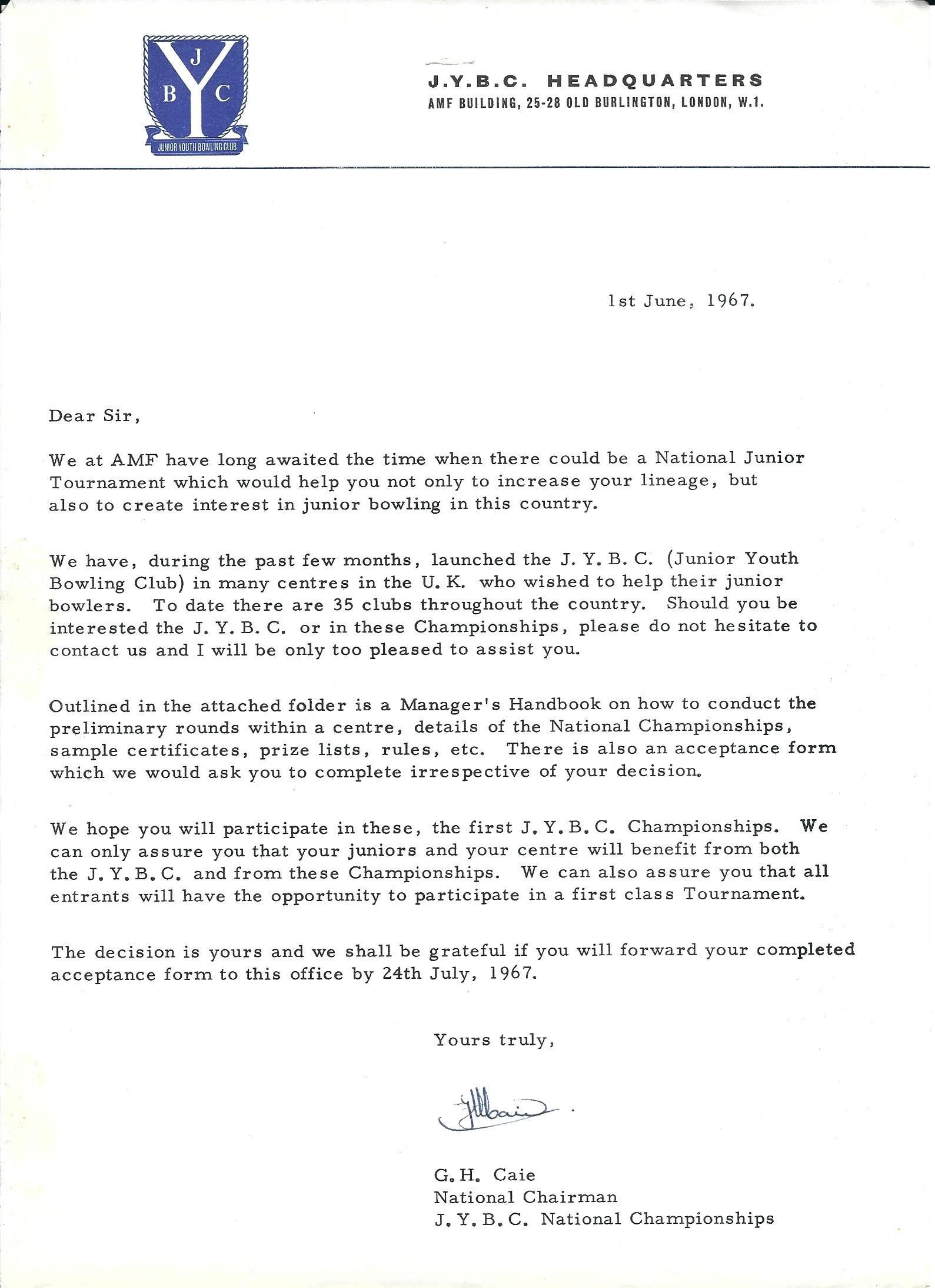 1967 Junior Youth Bowling Club Championships JYBC – Talk